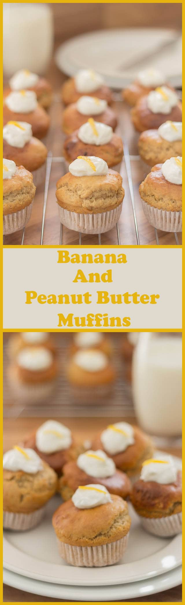 Low fat banana peanut butter muffins. Delicious peanut butter with that sweet banana taste and a beautiful moist textured centre with a contrasting tangy topping. Peanut butter and banana lovers will crave this recipe! Plus its relatively guilt free recipe at only 184 calories per muffin!