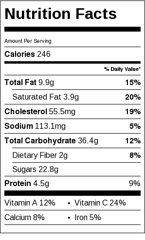 Orange and Apricot Tray Bake Nutrition Label