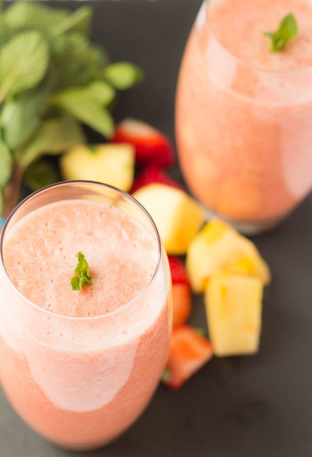 """It was a Saturday and I was making my Focaccia, so whilst the bread was proving and baking, I thought I would try out a few strawberrysmoothie combinations and get my wife to """"taste drive"""" them. Thus our strawberry sunrise smoothie was made and it's really quite delicious it is too!"""