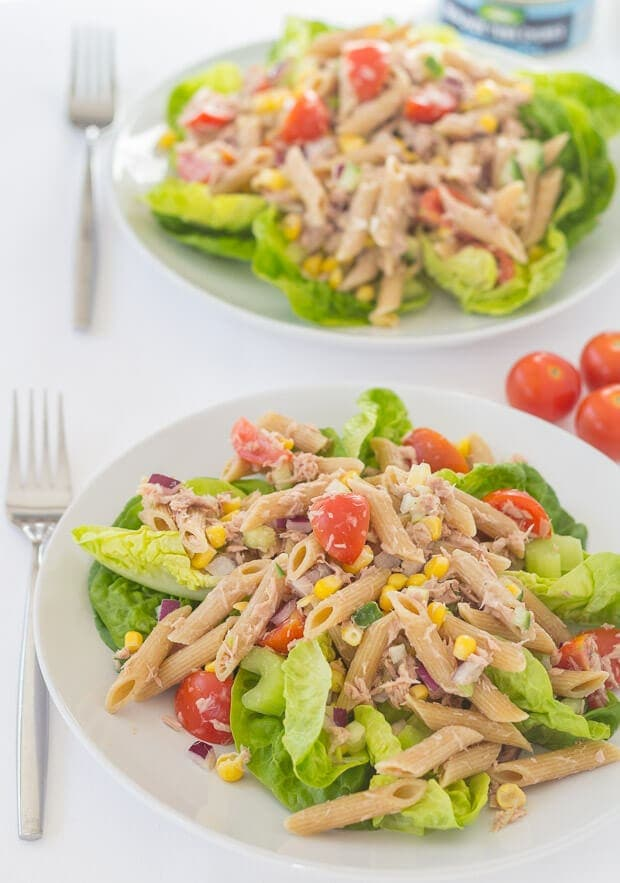This tuna pasta and sweetcorn salad makes for a perfect quick healthy meal. Made with a low calorie dressing and packed with delicious fresh salad ingredients its also great as a packed lunch option too.