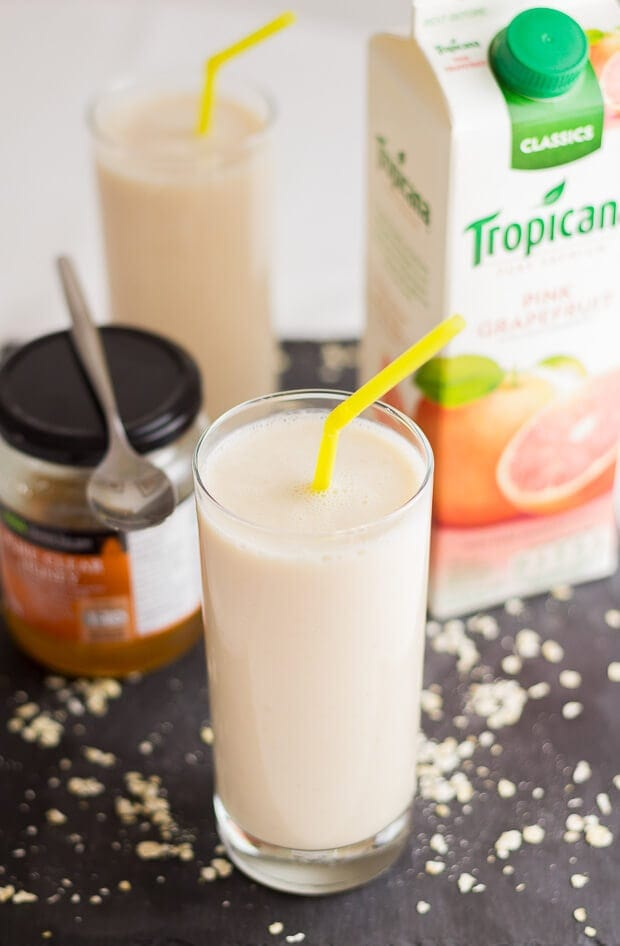 This grapefruit oatie smoothie is quick and easy to prepare. With a delicious rejuvenating naturally sweet taste. It's a great source for your daily vitamin C helping to combat and relieve colds and flu symptoms and reduce stress levels!