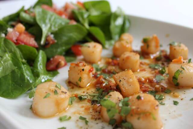Scallops with Chilli and Lime Served