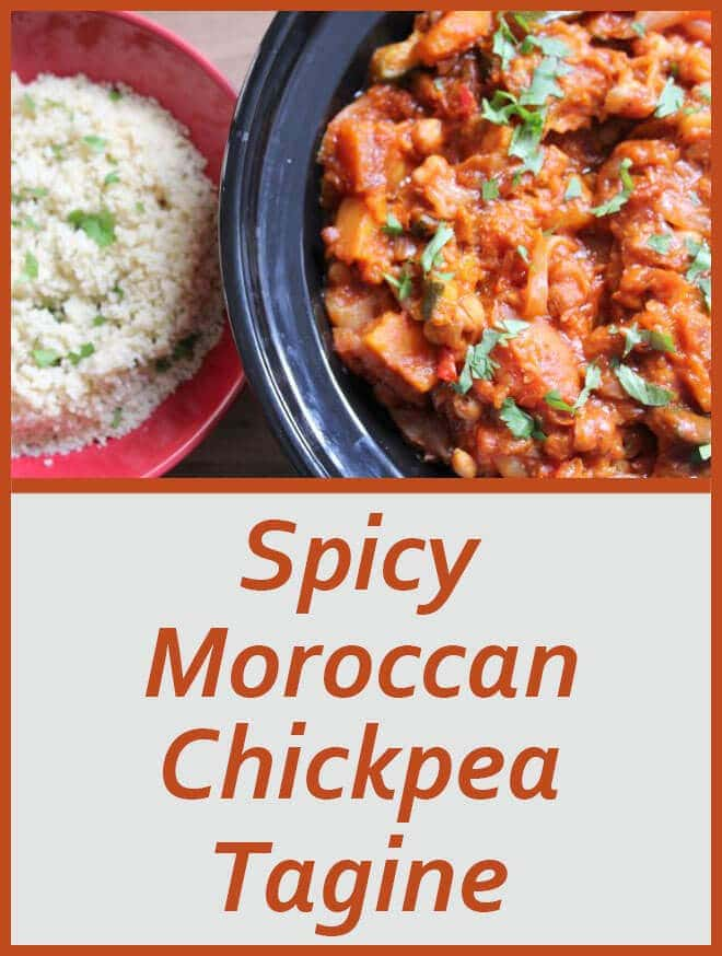 This tasty, spicy vegetarian Moroccan chickpea tagine has just enough of a spicy kick, but not so much as to take away the delicious taste. Made in the old fashioned way, in a tagine (but can be made in a casserole dish too), it takes me back to hearty dishes I enjoyed as a kid in Tangier. There's a great source of essential nutrients, vitamins and minerals in this tagine including protein and fibre from the chickpeas. It makes 4 servings and is only 400 calories per portion too.