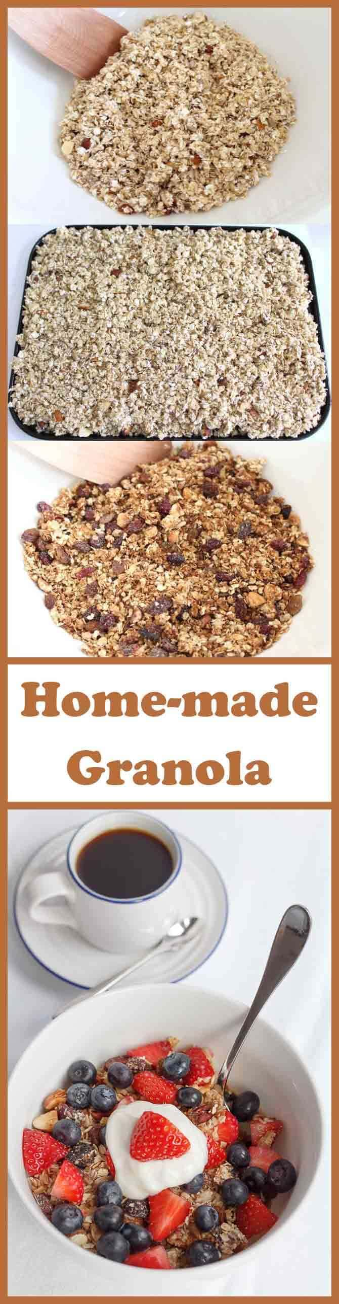 This healthy home-made granola is so easy to make and is only 222 calories per 50g portion making 8 portions, so that's plenty to last you all week! It's delicious to have with skimmed milk or no fat Greek yogurt, especially when topped strawberries or blueberries!