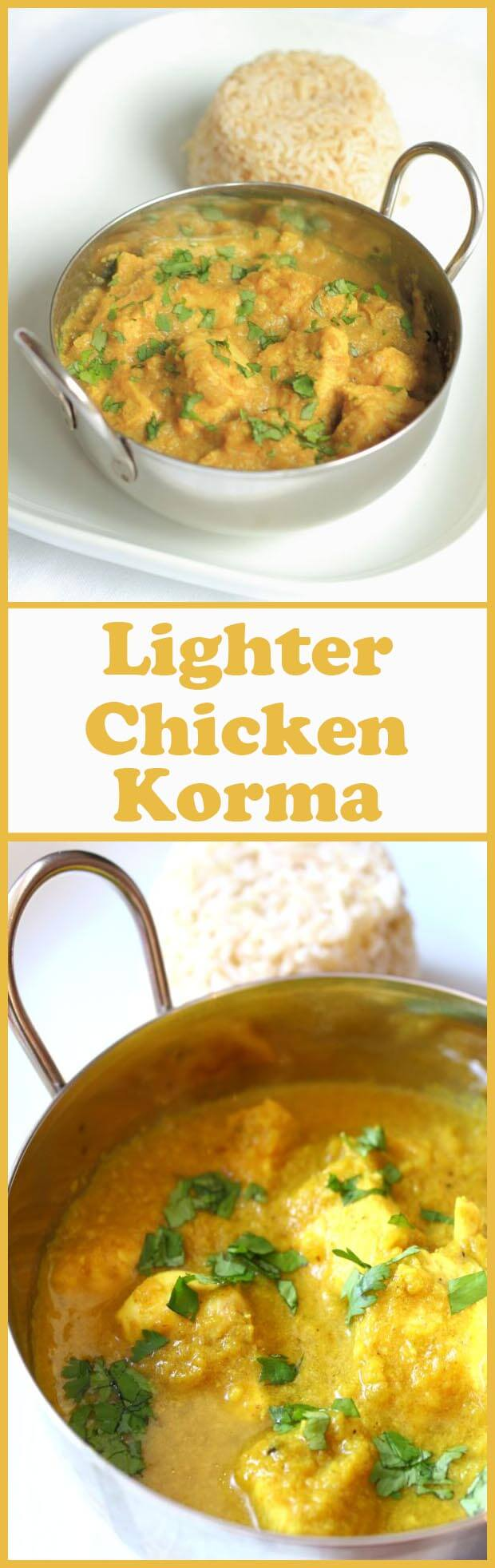 This fantastic lighter chicken korma recipe is perfect for those of us watching our waistlines! At just over 300 calories per portion, it doesn't contain any cream, but it does contain the same delicious creamy taste!