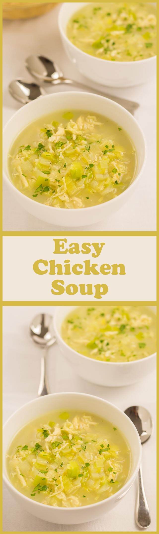 This simple chicken soup recipe is a great quick healthy meal to put together if you don't have the luxury of left over chicken lying about. It's made from just one chicken breast, leek, onion, rice and stock. It's as simple as that. It tastes absolutely delicious and its only 234 calories per serving!