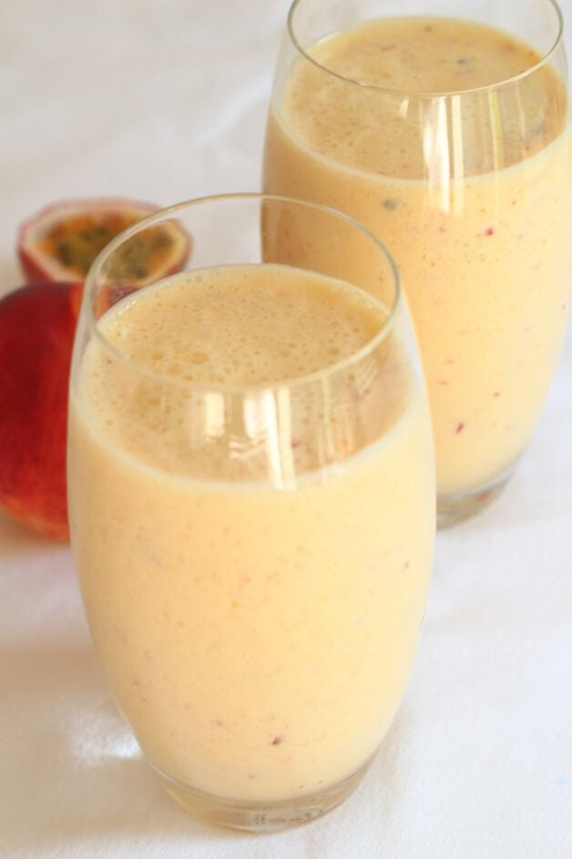 A superbly simple, mango, peach and passion fruit smoothie. Deliciously creamy tasting, healthy and packed with nourishing wholesome ingredients. So refreshing and perfect as a pick me up at any time, as a snack, or just a great healthy start your day!