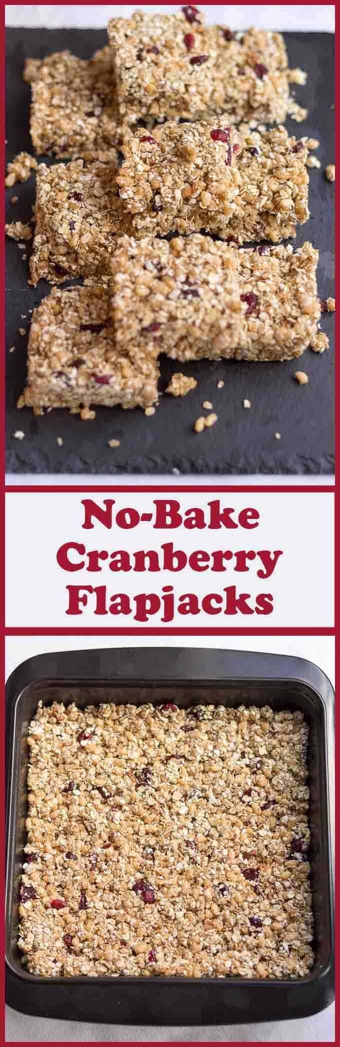 These delicious, chewy, no bake cranberry flapjacks are just packed full with all the goodness of porridge oats, pecan nuts, almond butter and cranberries. Great as little treats, and, easy to make too, because, absolutely no baking is required!