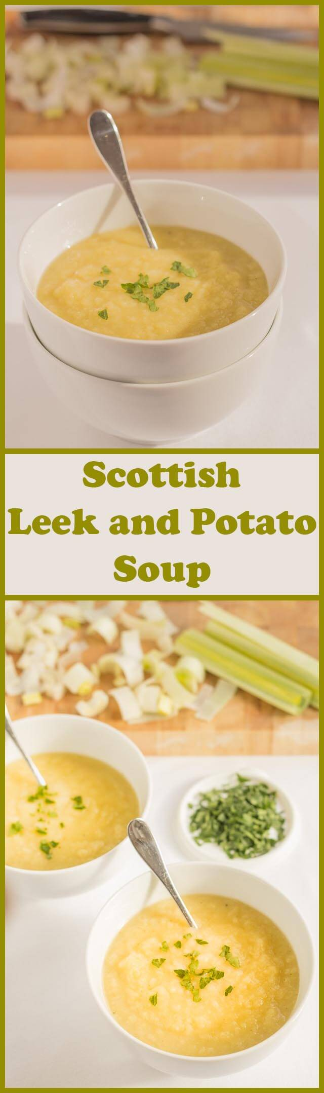 A simple healthier Scottish leek and potato soup. Still as deliciously creamy and smooth tasting as the original but as it's not made with butter or cream, it's so much more healthier! Completely suitable for lactose intolerant and vegetarians too!