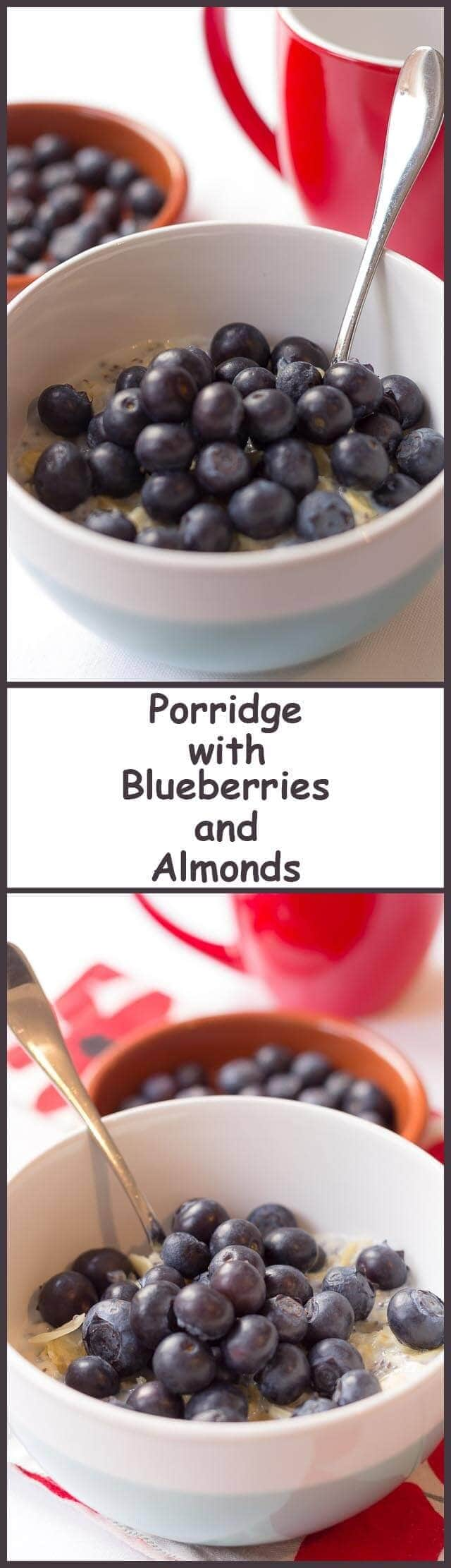 This tasty breakfast of porridge with blueberries and almonds is made from traditional rolled oats. It's a simple low cost quick healthy meal. And a perfect start to the day. Packed full of fibre and energy, it keeps you fuller for longer!