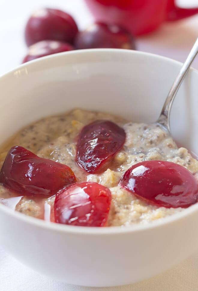 Spiced plum millet porridge tastes deliciously thick and creamy, and it's gluten free too! The spice and plum adding a healthy natural sweetness. If you haven't tried millet porridge before you'll love this! Wake up those taste buds with this superb alternative porridge breakfast.