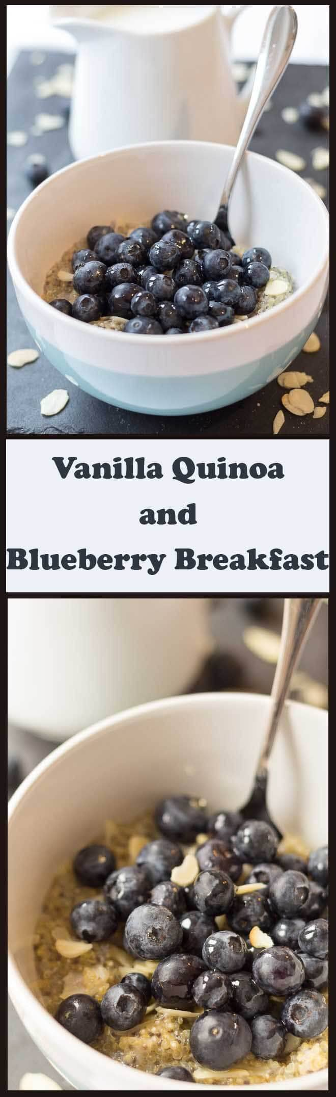 Gluten free and nutty tasting, this vanilla quinoa and blueberry breakfast makes for a delicious healthy alternative to traditional oatmeal.