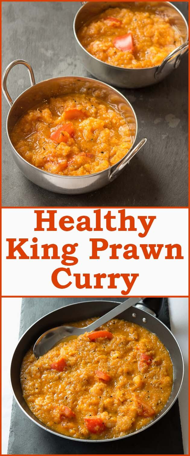 Healthy king prawn curry is a delicious low calorie, low fat curry. It's just as tasty as the traditional king prawn curry recipe but I've used a healthy way of cooking curry to make it waistline friendly!