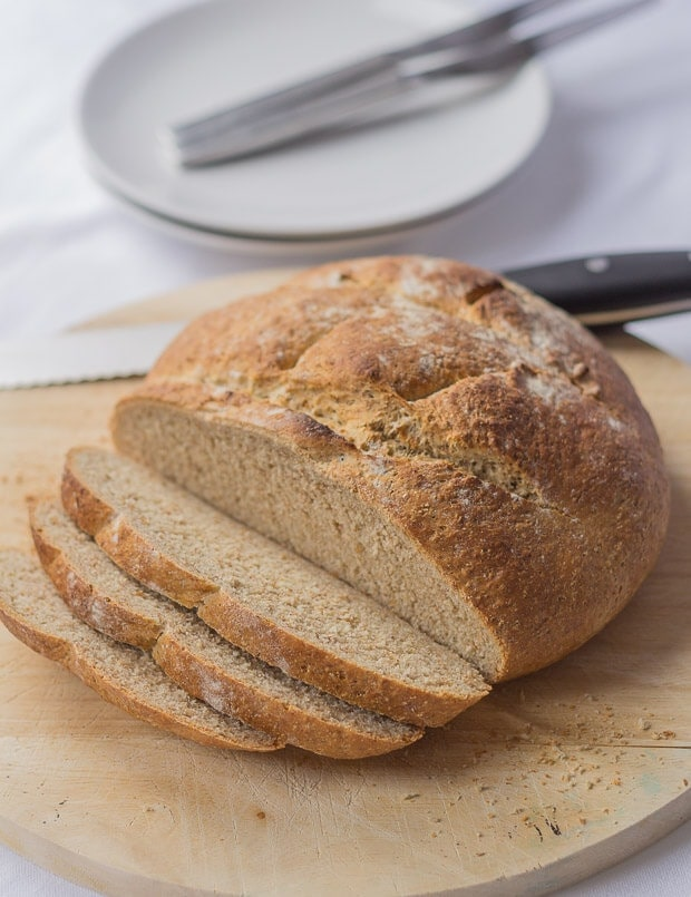 A traditional cob loaf. The perfect mopping up accompaniment for soups and meat and fish stews.  No fancy bread machines or machine mixers required, just good old muscle-building hand kneading.