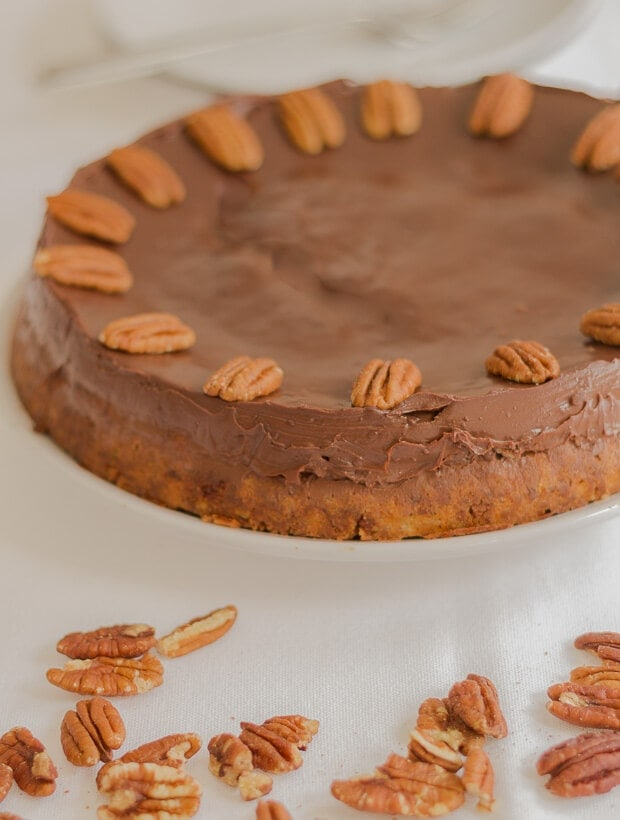 A deliciously velvety tasting chocolate ganache cheesecake with a lightly crunchy pecan nut chocolate biscuit base. Perfect for impressing at dinner parties.