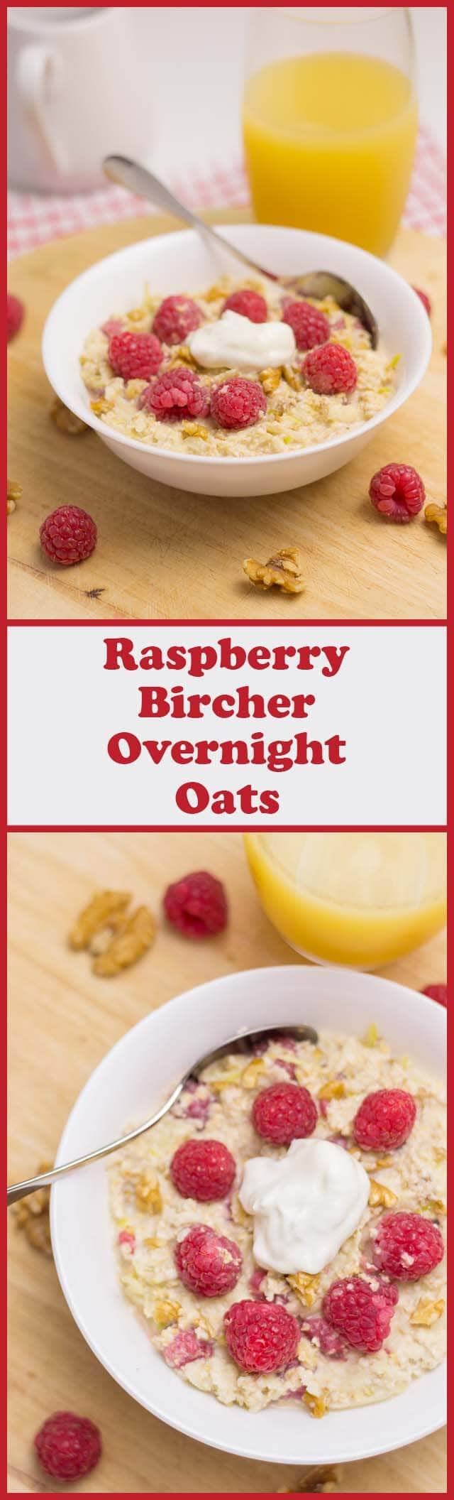 Combine oats, apples, fresh raspberries and walnuts for this deliciously fresh raspberry Bircher overnight oats breakfast!