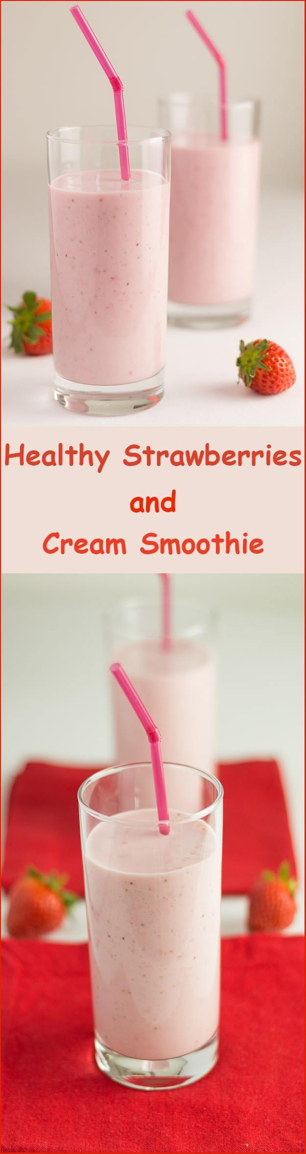 A deliciously creamy, smooth and naturally sweet healthy strawberries and cream smoothie. Made with no actual cream!