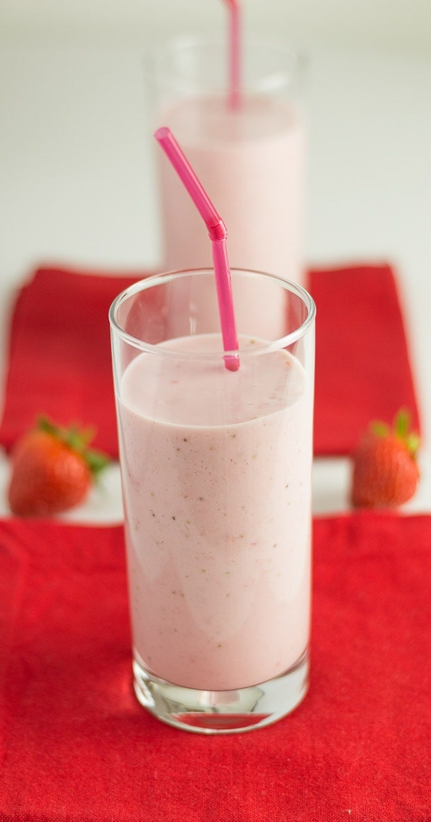 Strawberries and Cream Smoothie Served