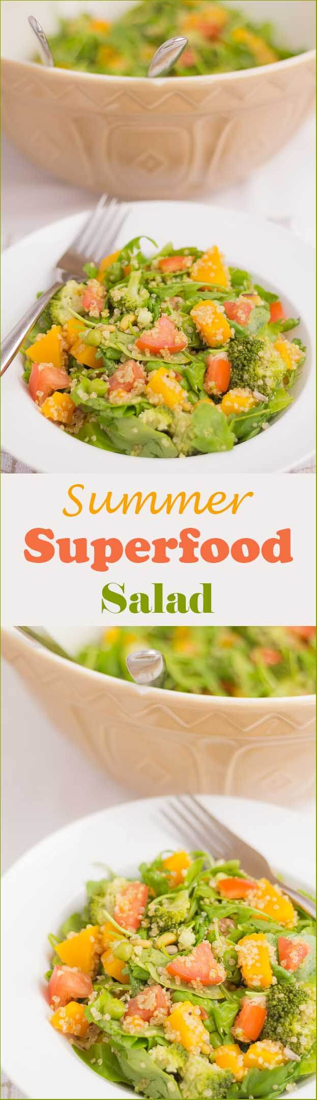 Stuffed full of healthy superfoods plus a wholegrain boost from the quinoa, this vegetarian summer superfood salad is sure to satisfy all appetites.