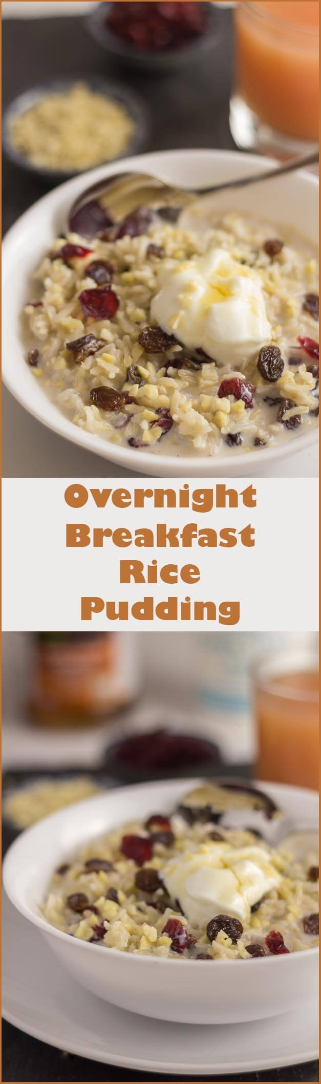 Overnight breakfast rice pudding. The sweet tasting combination of the cinnamon and vanilla infused milk, absorbed by the rice is just delicious, and provides a perfect way to use up any left over rice!