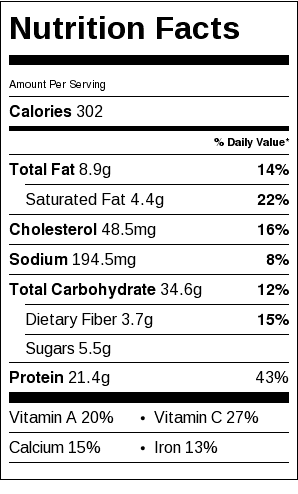 Quorn Pasta Bolognese Bake Nutrition Label
