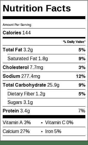 Scottish Bran Scones Recipe Nutrition Label