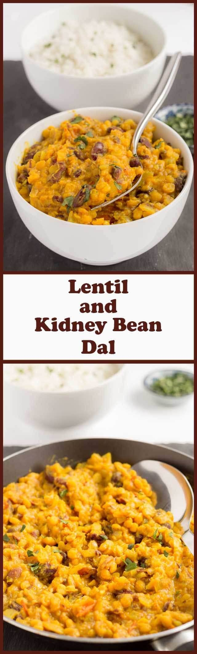 Lentil and kidney bean dal is a delicious vegan red kidney bean curry. It's a perfect quick healthy meal to suit anyone looking for a really filling curry.