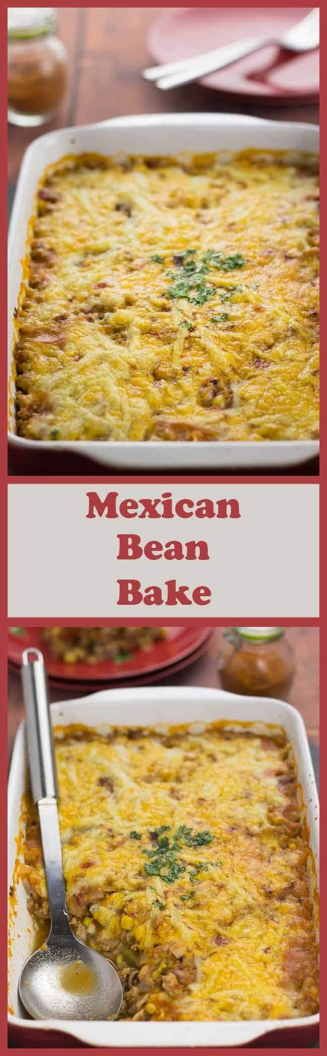 This Mexican bean bake is such a delicious quick healthy meal. It's stuffed full of protein, dietary fibre and essential vitamins and minerals. With a light tasty cheesy topping it's ready on the family table in less than one hour!