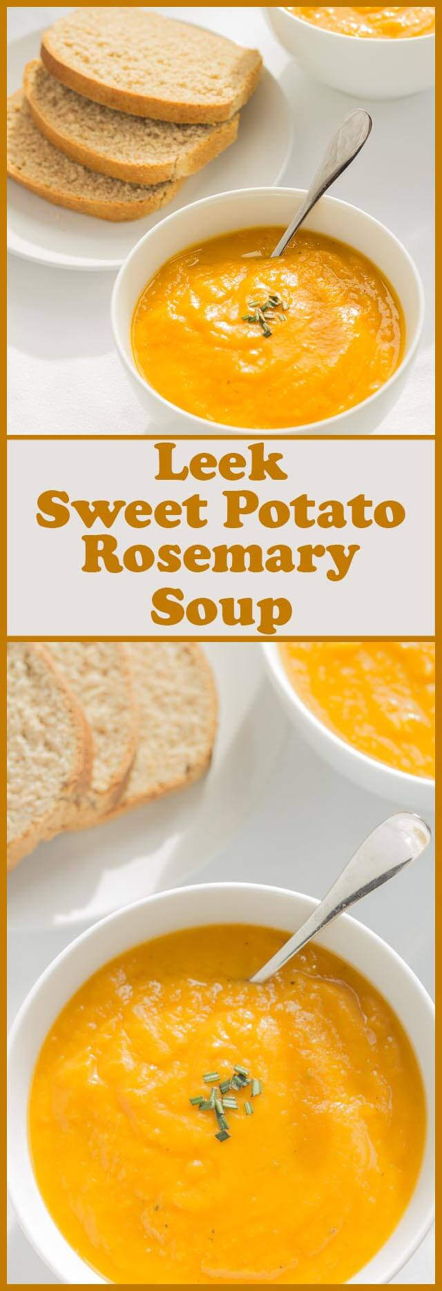 This leek, sweet potato and rosemary soup is addictive. The combination of flavours marinates together perfectly creating such a delicious creamy comfort soup. Not only that, it's really simple and quick to make too, with only five ingredients.