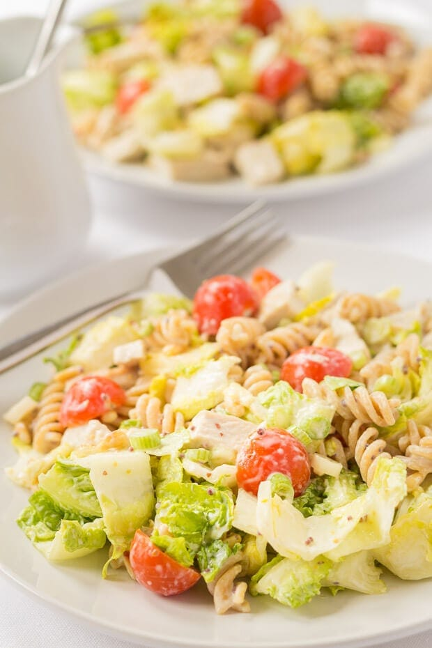 This easy honey mustard turkey pasta salad uses a really simple dressing which adds a whole lot of flavour to this recipe and it's one that is versatile enough for you to use in your own pasta salad recipes too!