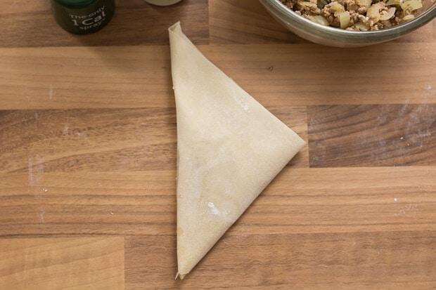 Turkey Filo Pastry Samosas Folding4