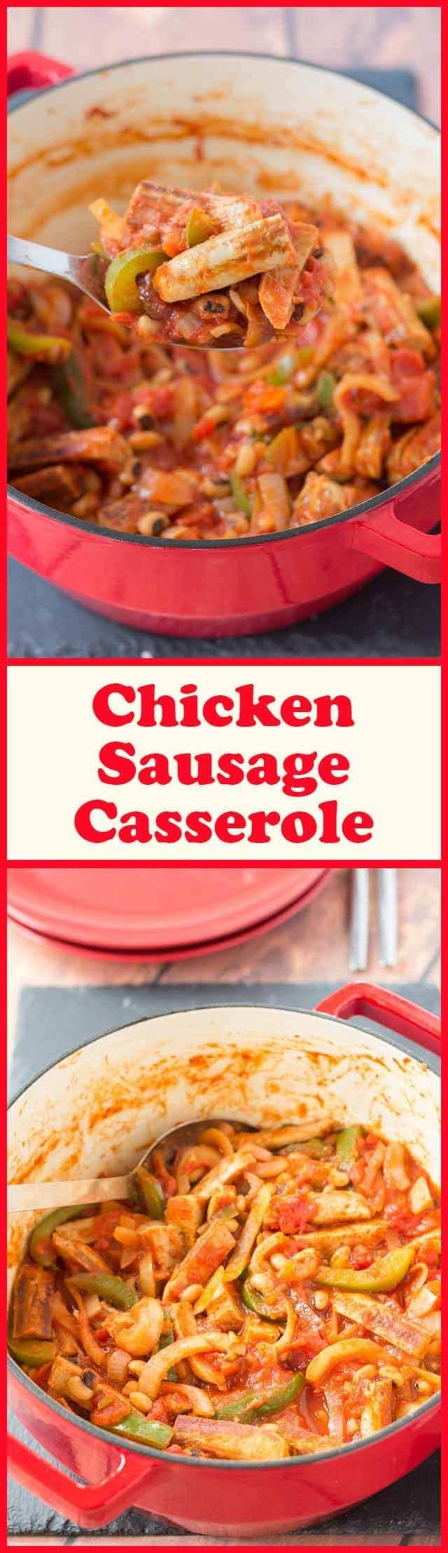This is a delicious low calorie chicken sausage casserole recipe that takes less than an hour to make. Full of flavour and made in one pan it's a perfect quick healthy meal that all the family will love.