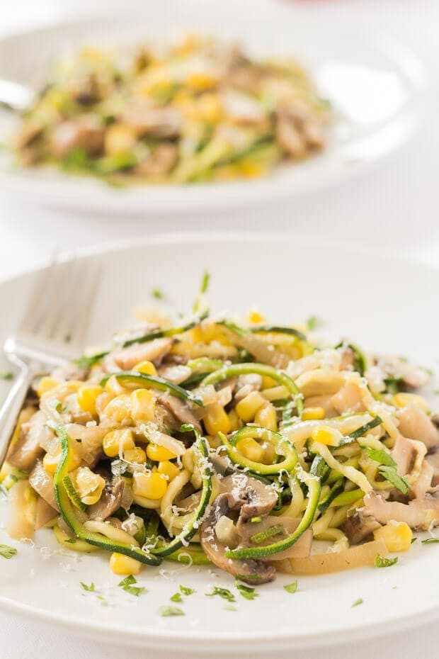 This zucchini mushroom pasta is a quick healthy meal that satisfies the craving you get for pasta without adding all those carbs. It's a perfect hearty combination of delicious flavours with only one cooking pan to wash up.