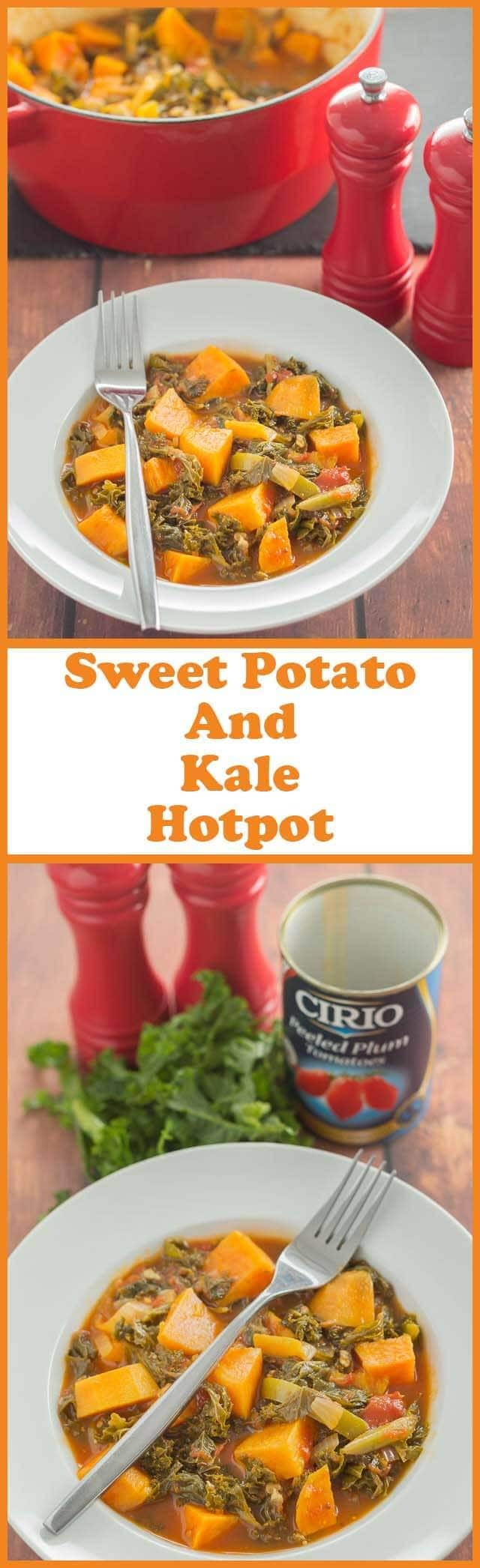 Sweet potato and kale hotpot is a quick, hearty all in one healthy meal. It's perfect for winter as you'll find this low cost vegan stew is packed full of vitamins that help keep colds and flu away!