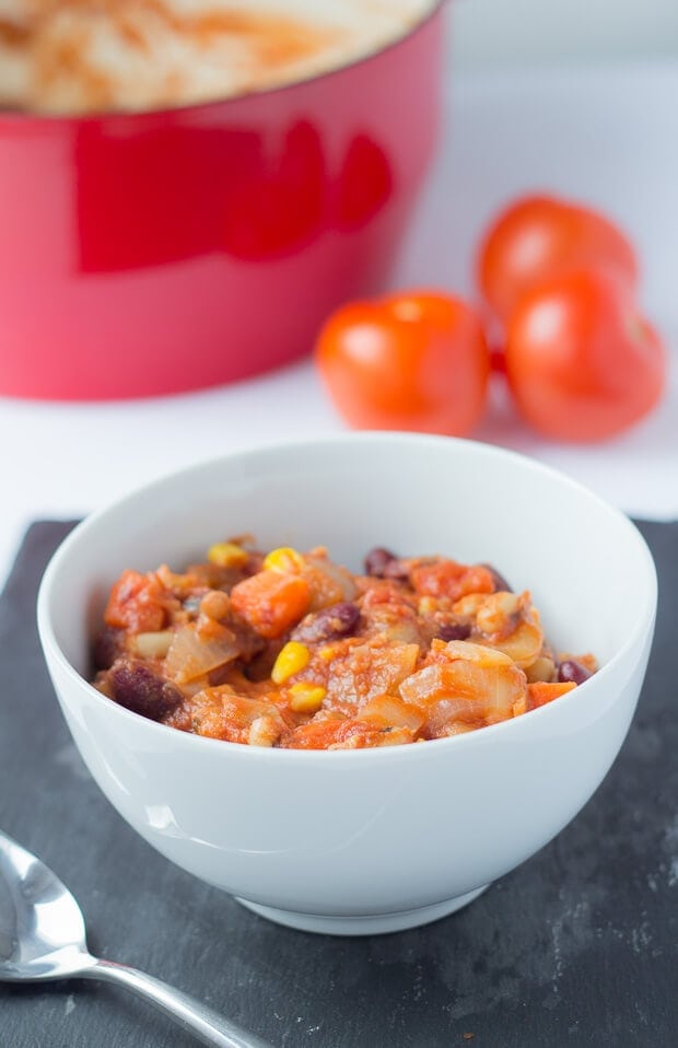 Easy vegan chilli is just that. An all in one pot vibrant and delicious easily made medley of vegetables and beans. It's just packed full of vitamins.With this quick healthy meat free chilli alternative you'll find you won't be missing meat at all!