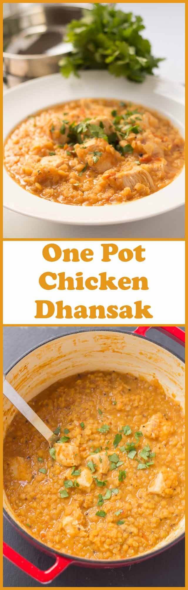 One pot chicken dhansak is a delicious home made lentil curry infused with spices that is so easy to make. Filling and providing a huge amount of your daily protein requirement it also comes in at only 437 calories too!