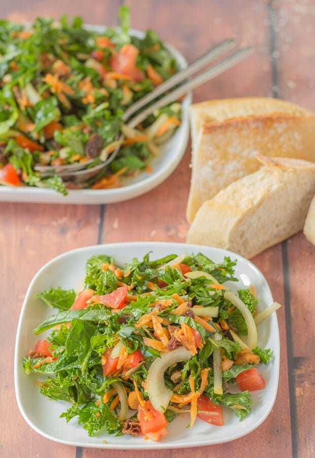 Shredded Kale And Spinach Salad