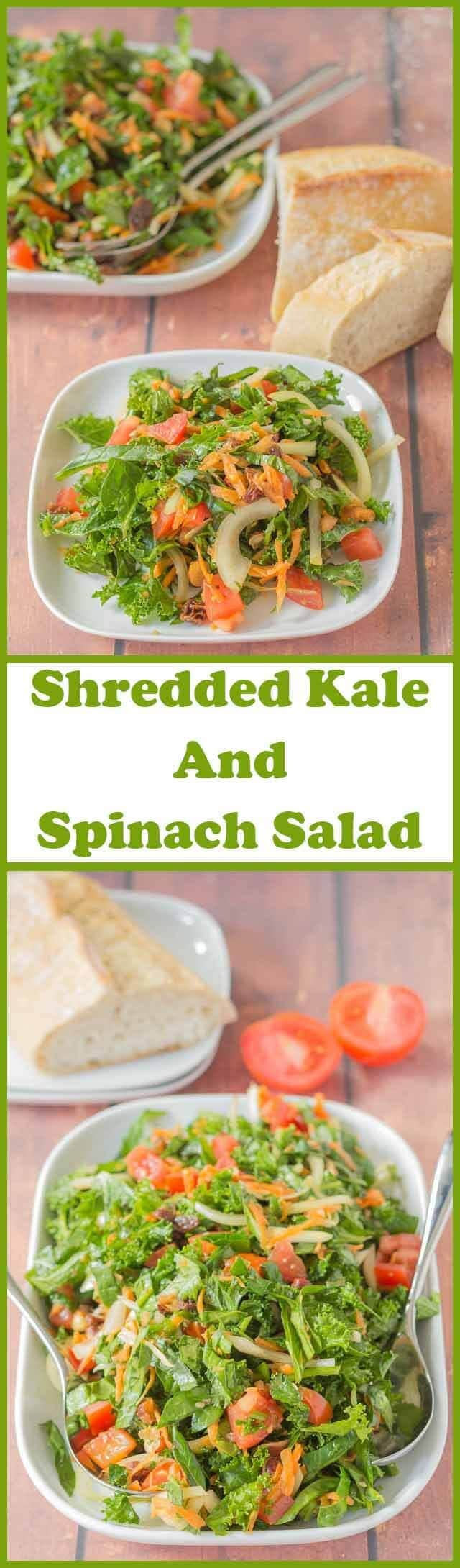 Shredded kale and spinach salad makes for a perfect dinner for two or an ideal side salad. It's easy to make, great for using up leftover kale and spinach and packed full of nutritional goodness.