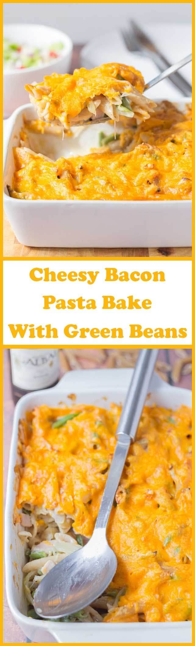 Cheesy bacon pasta bake with green beans is a really tasty and simple family recipe. On the dinner table in less than one hour, this is a terrific quick healthy meal that requires hardly any effort at all!