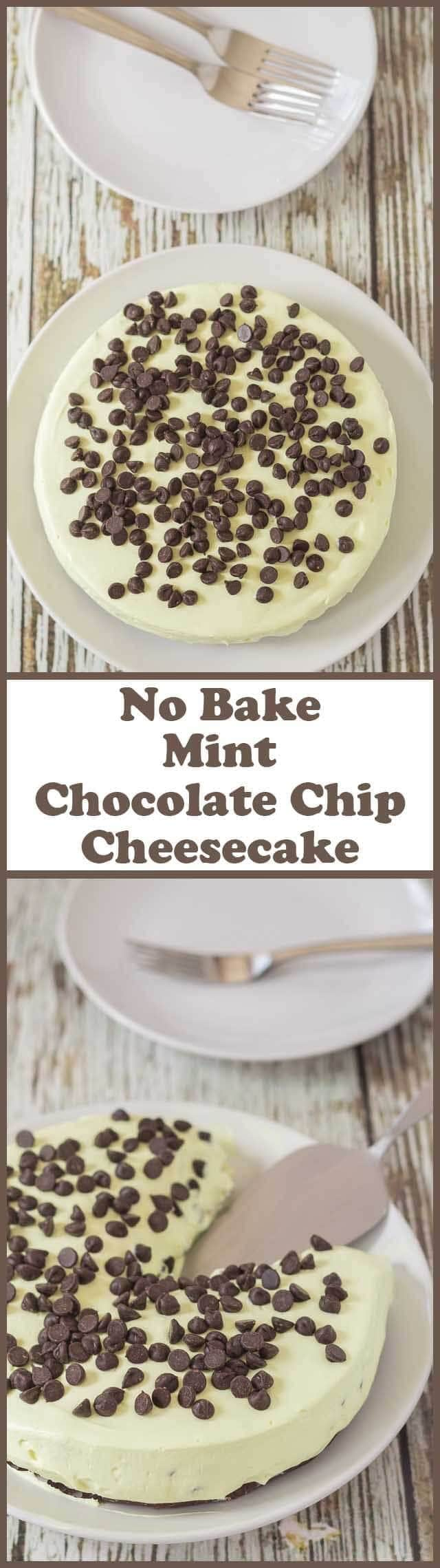 This no bake mint chocolate chip cheesecake tastes just like mint chocolate chip ice cream. It's delicious, decadent and creamy tasting and you will not be disappointed!