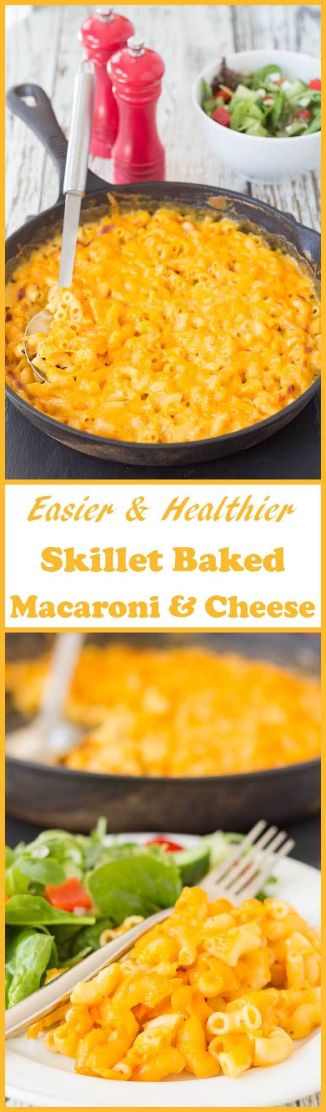 Skillet baked macaroni and cheese - the delicious classic comfort food easily made into a quick healthy meal for 4 with less washing up!