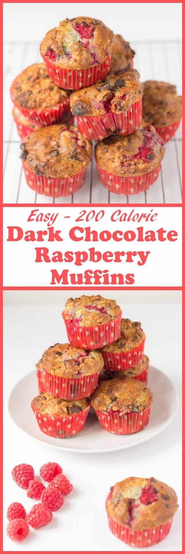 Dark chocolate raspberry muffins made with delicious fresh raspberries, teasing little pieces of dark chocolate and a sensational moist centre for only 200 calories each!