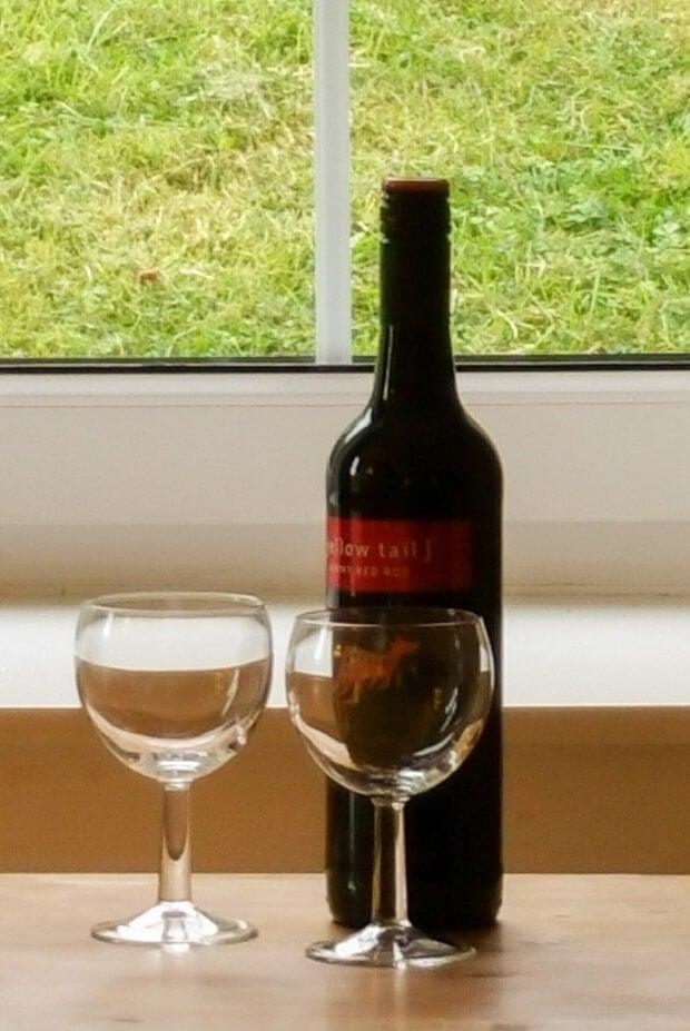 Bottle of wine celebrating end of walk.