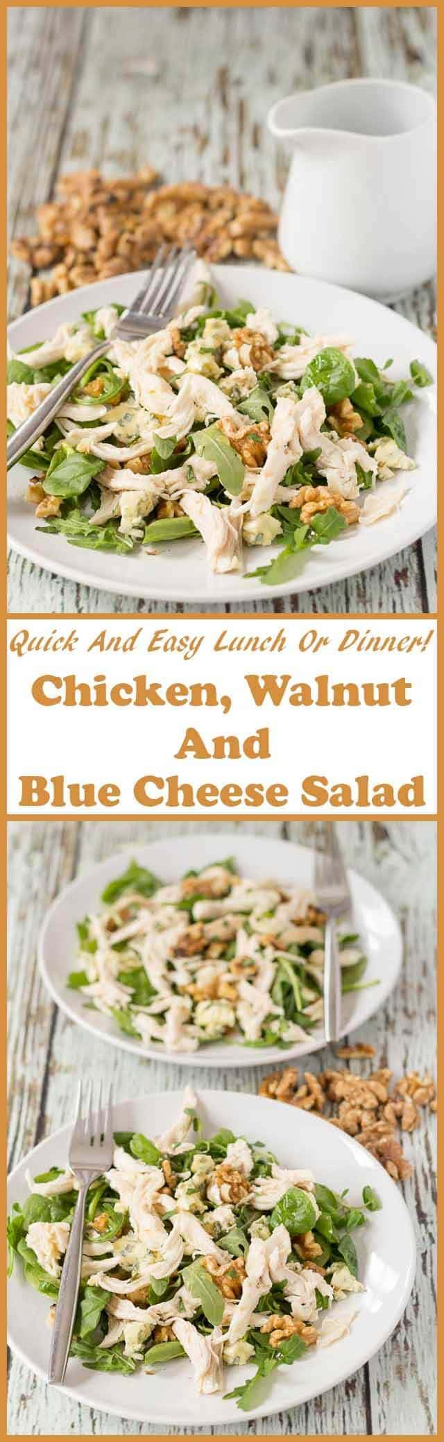 This chicken, walnut and blue cheese salad has loads of flavour and a wonderful crunch too. It's perfect for a really quick and easy lunch or weeknight dinner option!