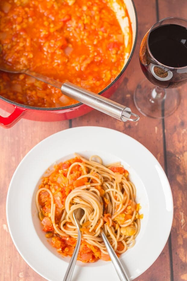 Red lentil Bolognese is a really quick and easy vegetarian alternative to meat Bolognese which tastes just amazing! Plus it's ready on the table in only 45 minutes!