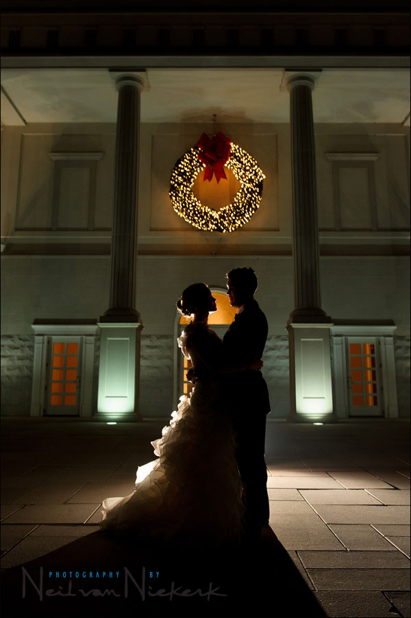 Backlighting with flash for silhouetted wedding portraits