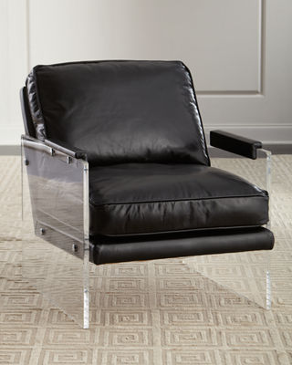 Lucite Chair Alter Lucite Arms Leather Chair