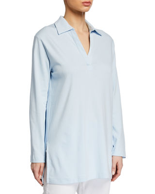 Joan vass plus size  neck long sleeve cotton interlock tunic also dresses  clothing at neiman marcus rh neimanmarcus