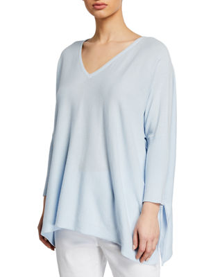 Joan vass plus size oversized  neck ribbed sleeve cotton sweater also dresses  clothing at neiman marcus rh neimanmarcus