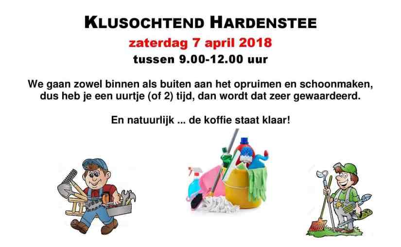 Klusochtend Hardenstee – zaterdag 7 april